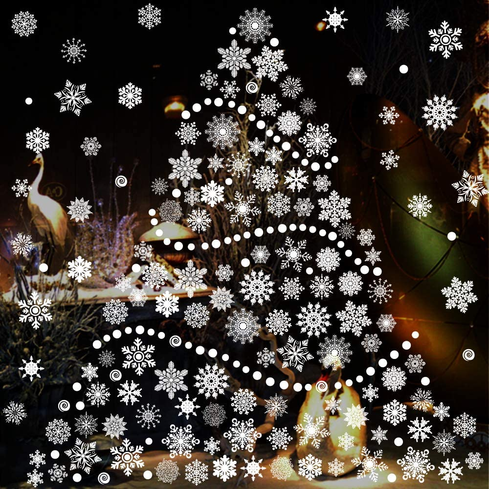 TMCCE 232 Piece Christmas Snowflake Window Decal Stickers - Xmas Holiday White Winter Christmas Window Decorations Ornaments Party Supplie