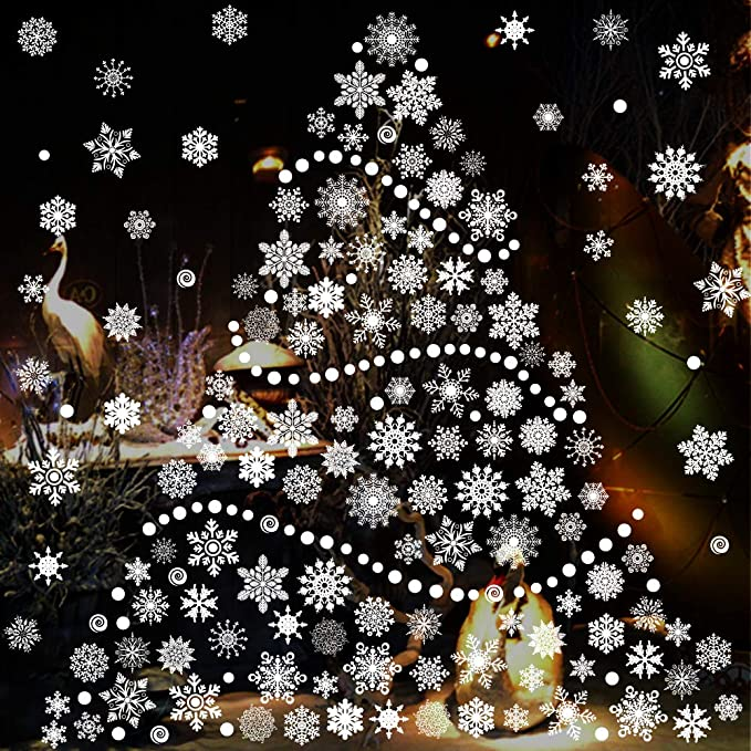 Amazon Com Tmcce 232 Piece Christmas Snowflake Window Decal Stickers Xmas Holiday White Winter Christmas Window Decorations Ornaments Party Supplie Toys Games