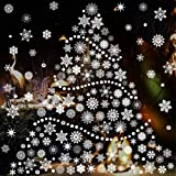 TMCCE 232 Piece Christmas Snowflake Window Decal Stickers - Xmas Holiday White Winter Christmas Window Decorations…