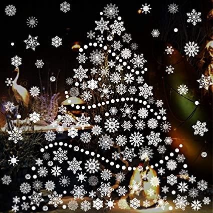 232 piece christmas snowflake window clings decal stickers xmas holiday winter wonderland christmas window decorations - Christmas Window Decorations