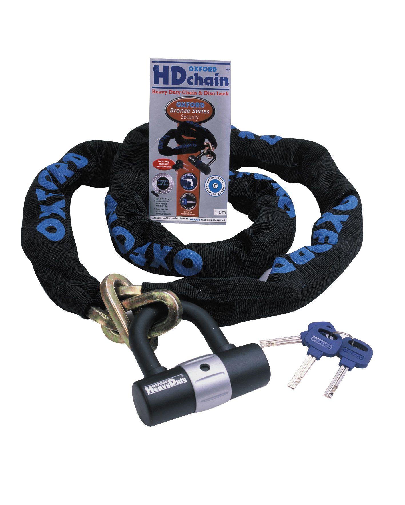 Oxford OF160 'HD Chain' 9.5mm Square Link Chain and Tough Double Locking Padlock