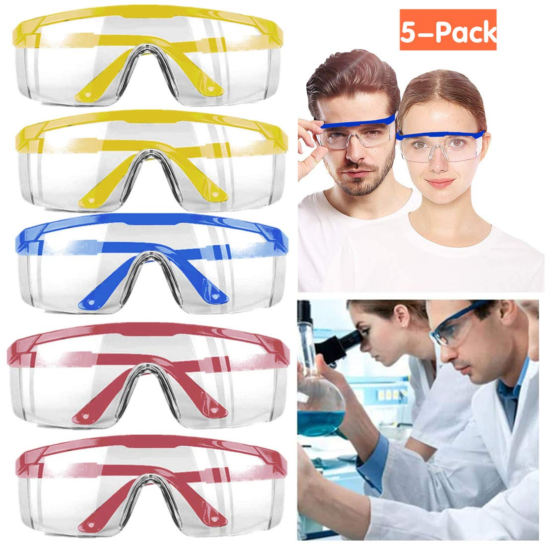 5-Pack Anti-Fog Protective Safety Goggles Clear Lens Wide-Vision Chemical Splash Eye Protection Soft Lightweight Eyewear