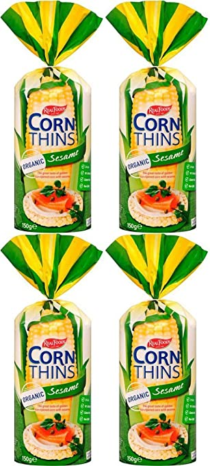 Amazon 4 Pack Real Foods Sesame Corn Thins 150 G 4 Pack