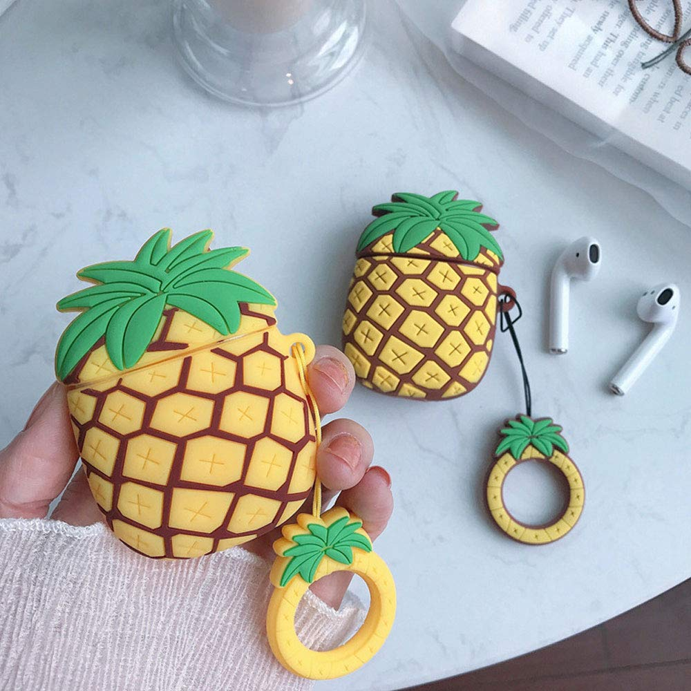 BONTOUJOUR AirPods Case, Super Cute Creative Fun Fruit Pineapple Shape TPU Silicone Cover Protective Skin for Apple AirPods+Finger Lanyard-2Pcs