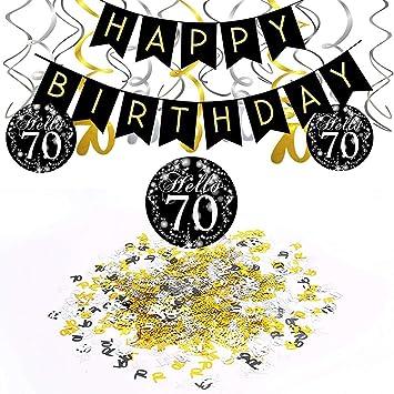 18 Aniversario Decoraci/ón Feliz cumplea/ños /& Mesa N/úmero Confeti para Aniversario Aniversario Decoraci/ón SIMUER Cumplea/ños Negro Colgar Remolino decoraci/ón de Techo