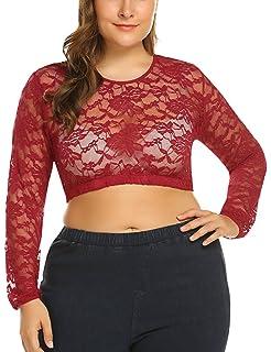 3cbf7b5c3f9d MISELON Women s Lace Floral Mesh Sheer Plus Size Crop Tops Sexy Short  Blouse T-shirt