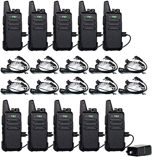 TID TD-M8 Two Way Radio Walkie Talkies Rechargeable 16 CH VOX Walkie Talkies for Adults UHF 2 Way Radio with Earpiece 10 Pack