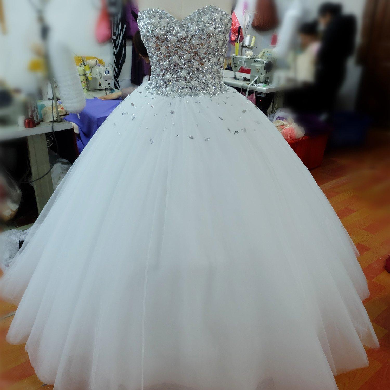 SPbridal Crystal Sweetheart Organza Wedding Dress For Bride at ...