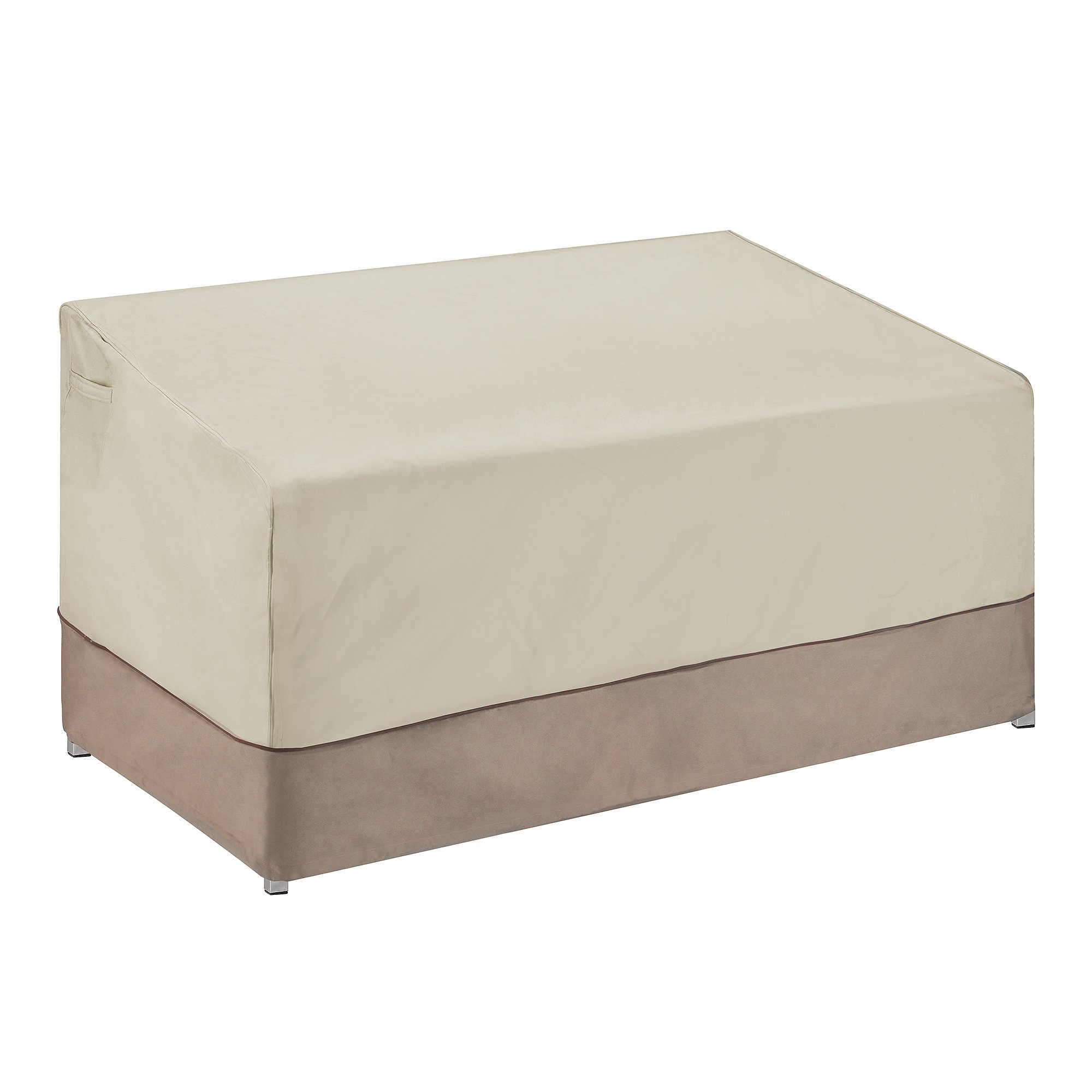 Villacera 83-DT5795 Patio Love Seat Cover, Beige and Brown, Sm