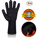 "MIGARS BBQ Gloves Heat Resistant Barbecue Gloves for Cooking/Oven/Grilling 932°F Extreme -1 Pair (Long)-14"" Long for Extra Forearm Protection"