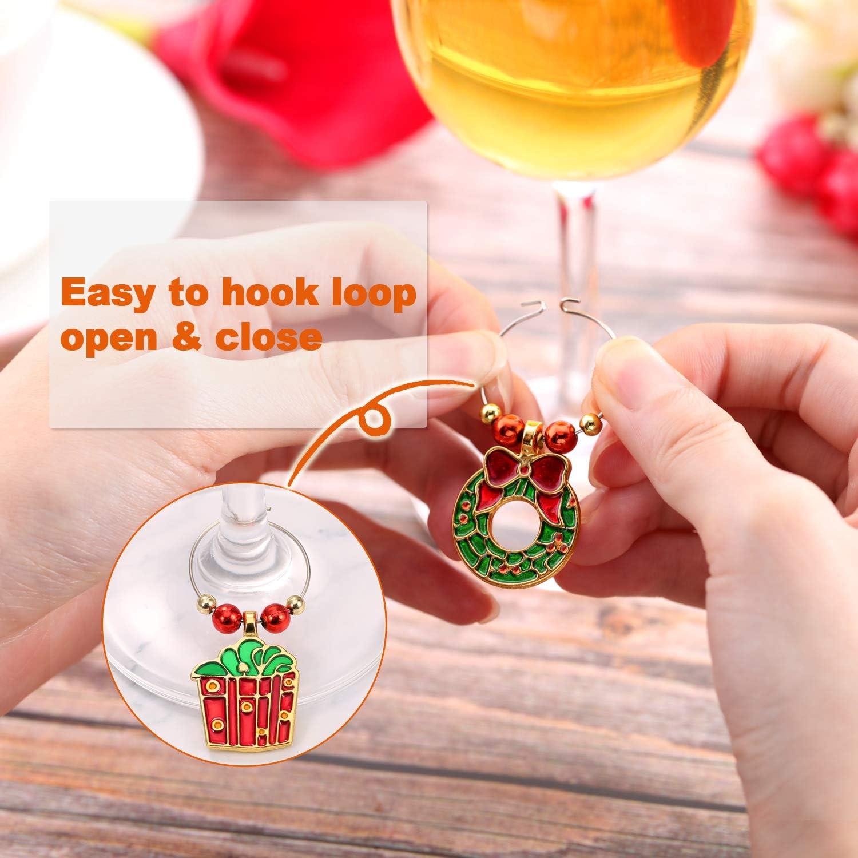 B Fenteer 6 st/ück Wein Tasse Charms Weihnachten Thema Wein Glas markierungen Wein Glas Ring Trinken Tags f/ür Weihnachts Party zubeh/ör