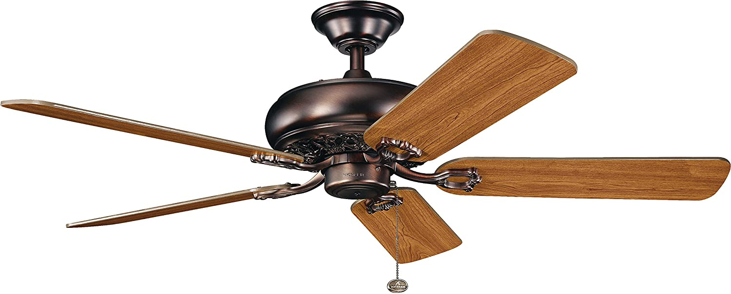 KICHLER 300118OBB Downrod Mount, 5 walnut Blades Ceiling fan, Oil-rubbed Bronze