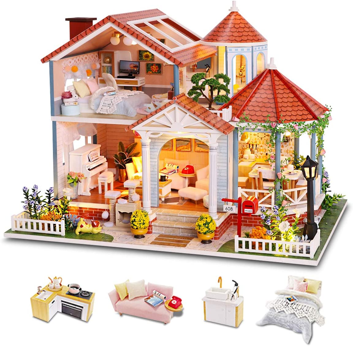 GuDoQi DIY Miniature Dollhouse Kit, Mini Dollhouse with Furniture, Tiny House Kit Plus Dust Cover and Music Movement, DIY Miniature Kits to Build, Great Handmade Crafts Gift Idea