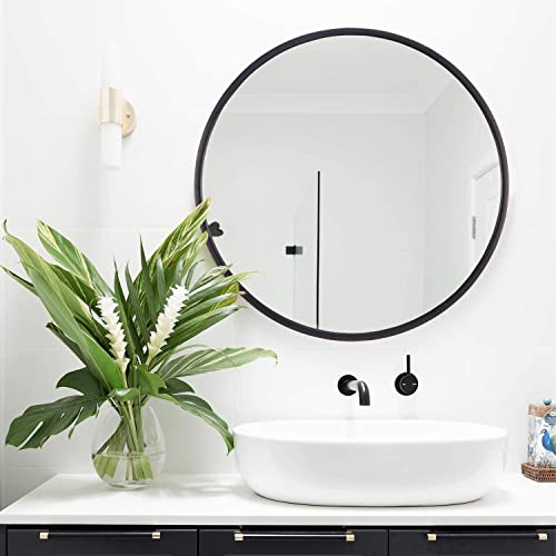 Geloo Round Black Wall Mirror Decor – 28 Circle Mirrors Modern Brushed Metal Frame Wall-Mounted Decorative Mirror for Bedroom, Vanity, Bathroom, Living Room, Kitchen, Office,Entryway
