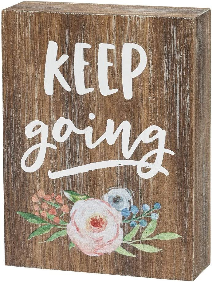 "Collins Painting Inspirational Wood Grain Mini Block Sign, 4"" (Keep Going)"