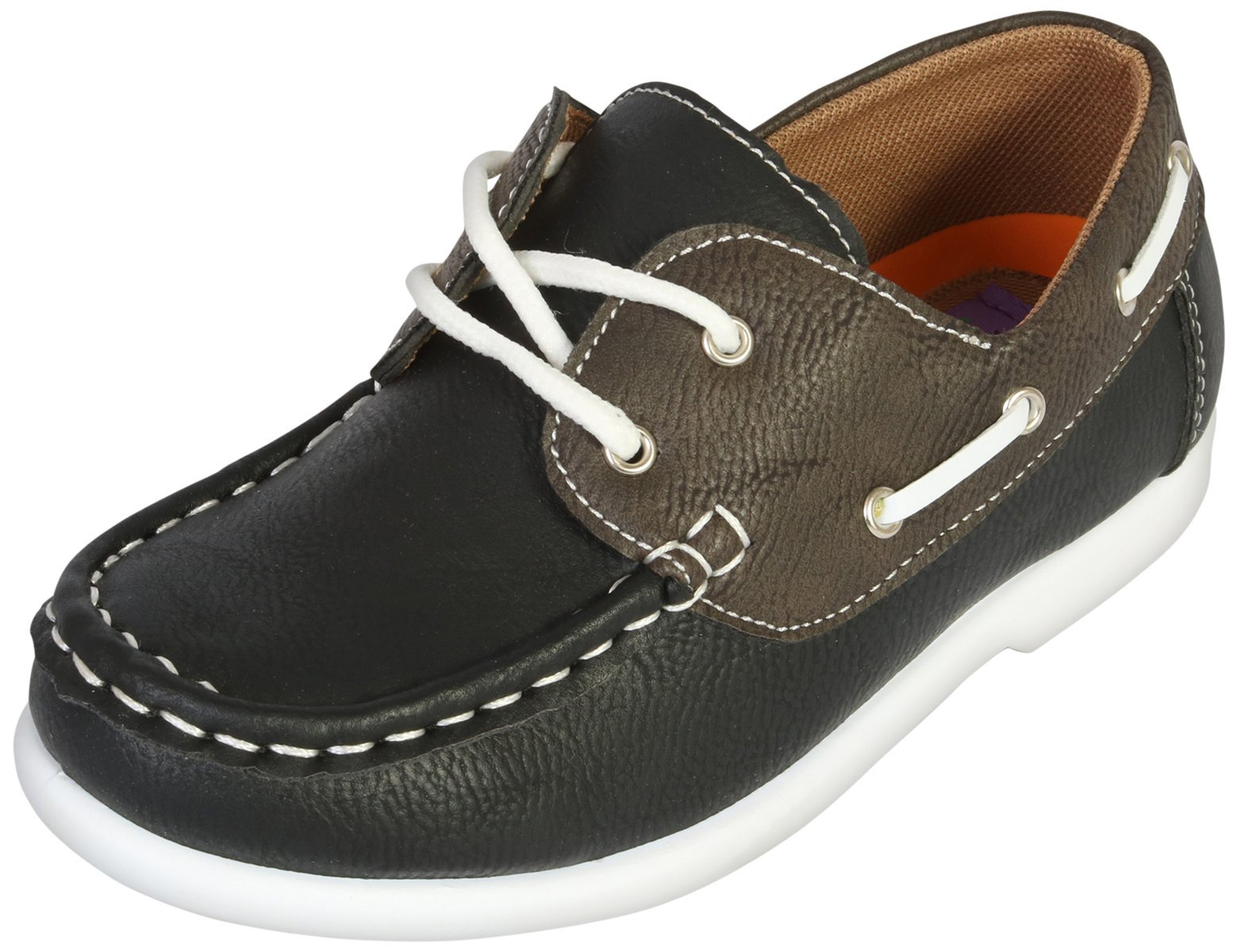 Jodano Collection Boys Slip on Boat Shoes with Memory Foam Insole, Black/Brown, 10 M US Toddler'