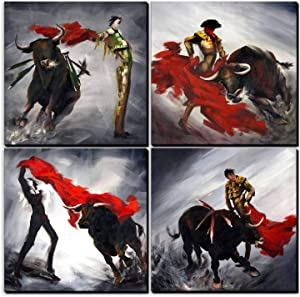 SpecialArt - HIGH-END FRAME Paintings Wall Art - Spanish Gypsy Dance the Matador and Cattle painting - 4 Panels Picture Print on Canvas for Modern Home Decor