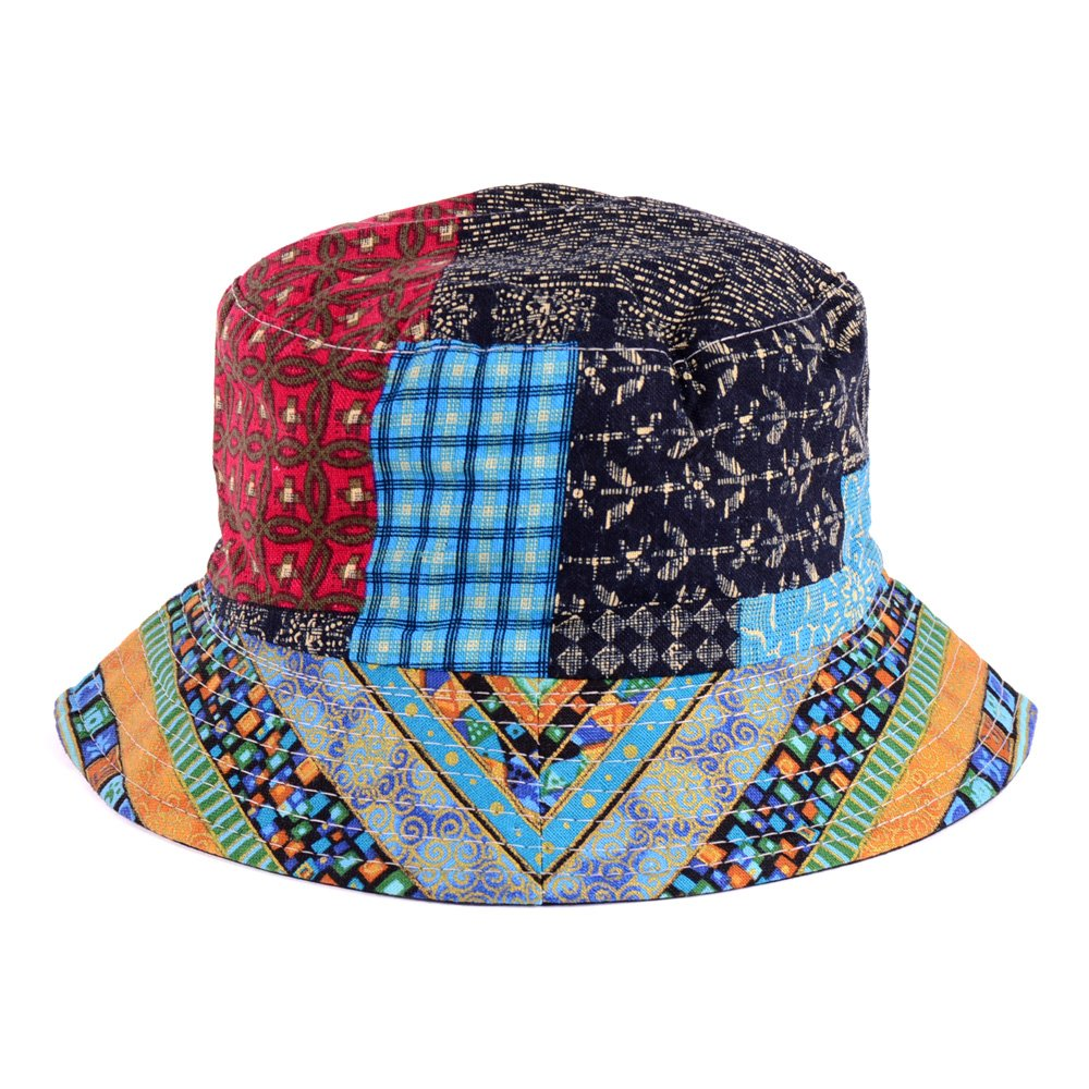 BYOS Fashion Cotton Unisex Summer Printed Bucket Sun Hat Cap, Various Patterns Available (Hippie Patch Multi Blue)