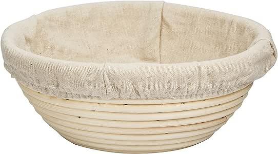 eoocvt 7 inch Round Banneton Brotform Bread Dough Proofing Rising Rattan Handmade Basket & Linen Liner Cloth