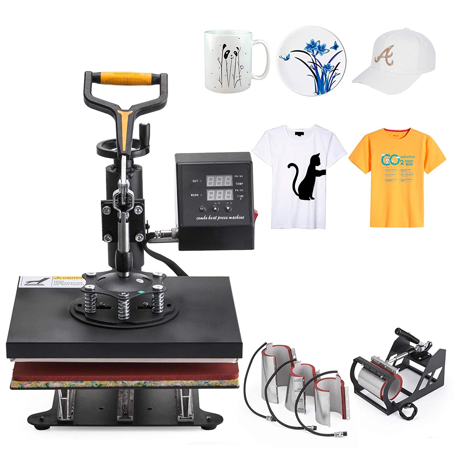 Happybuy 8in1 Heat Press 12x10 Inch Combo Heat Press Printer Swing Away Multifunction Heat Press Machine for T-Shirt Mug Hat Plate Cap Happibuy