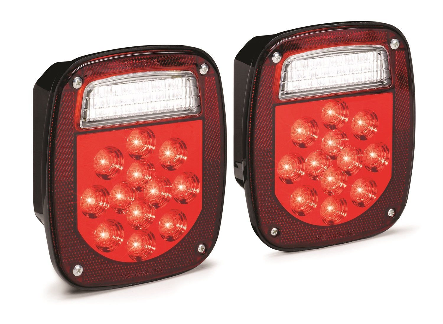 KC HiLiTES 1001 LED Rectangular Red Jeep & Trailer Tail Light Kit with Back Up