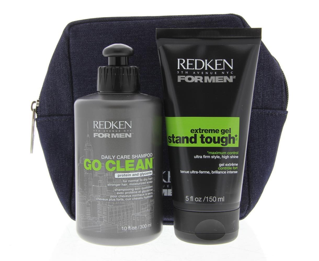 Redken For Men Bun Kit 300 ml Shampoo & 150 ml Haargel als Pflege-Duo mit Tasche für langes Haar