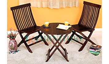 VK Furniture Sheesham Wood Foldable Patio Dining Set   for Balcony, Garden and Outdoor   2 Chairs and Table   Brown