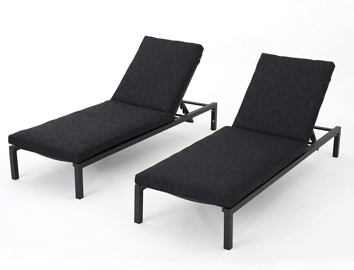 Christopher Knight Home Navan Outdoor Chaise Lounges with Aluminum Frame and Water Resistant Cushion, 2-Pcs Set, Dark Grey / Black