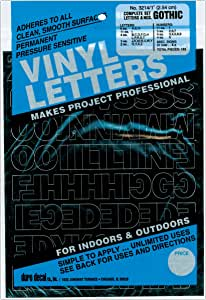 """Graphic Products D3214-BLACK Permanent Adhesive Vinyl Letters and Numbers 1""""-Gothic/Black"""