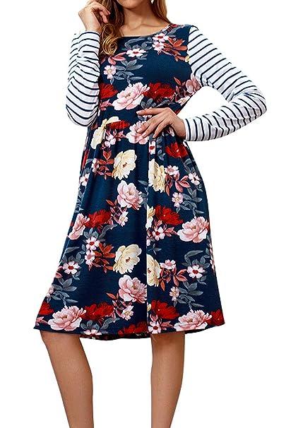 Primavera Otoño Mujer Midi Vestido Casual Cuello Redondo Manga Larga Plisado Vestido Moda Rayas Impresión Costura Vestidos de Partido Fiesta Playa: ...