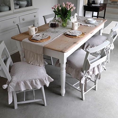 Seat Cover Linen Chair Ruffled Slip Farmhouse