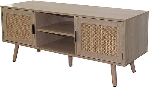 Universal TV Stand Entertainment Cabinet Anmytek Farmhouse Boho TV Storage Cabinet