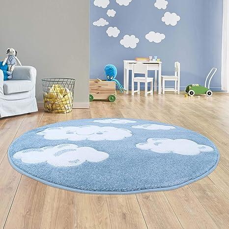 Taracarpet Kinder Teppich für das Kinderzimmer Bueno Hochwertig mit  Konturenschnitt Blau verträumte Wolken 120x120 cm rund