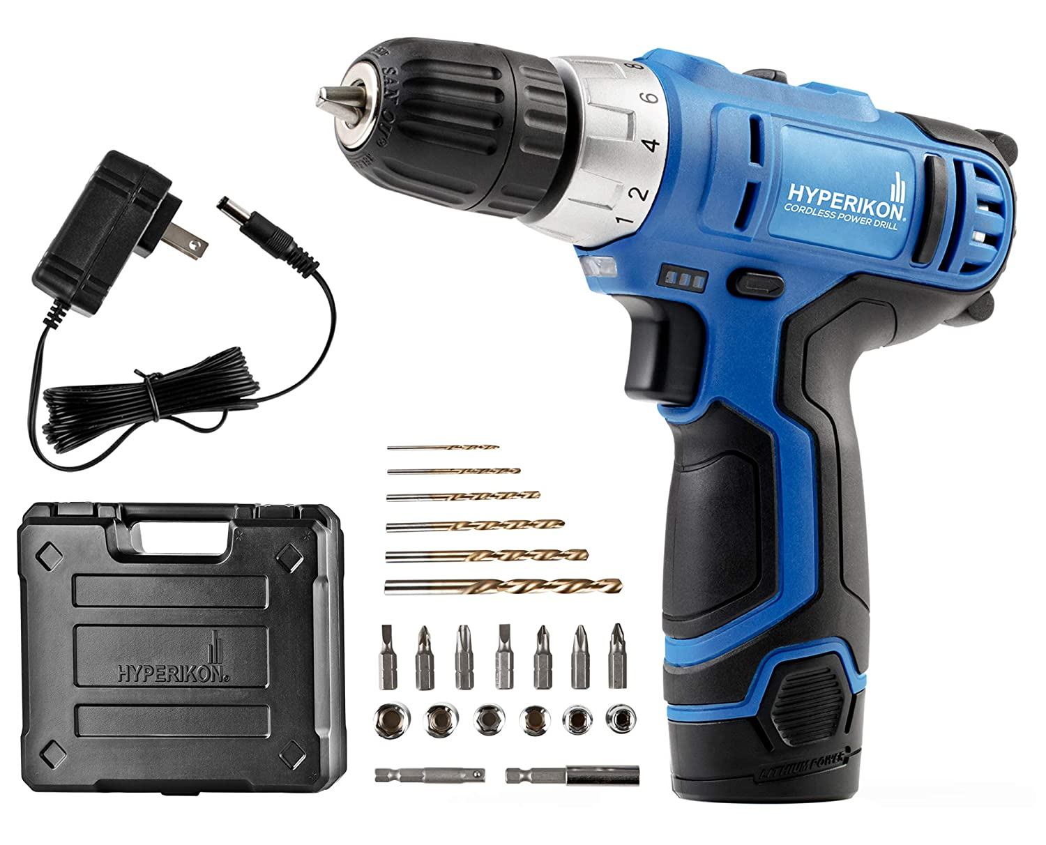 Hyperikon Electric Power Drill, 12V, 3 8 Keyless Chuck, Power Tool, Driver Set and Battery