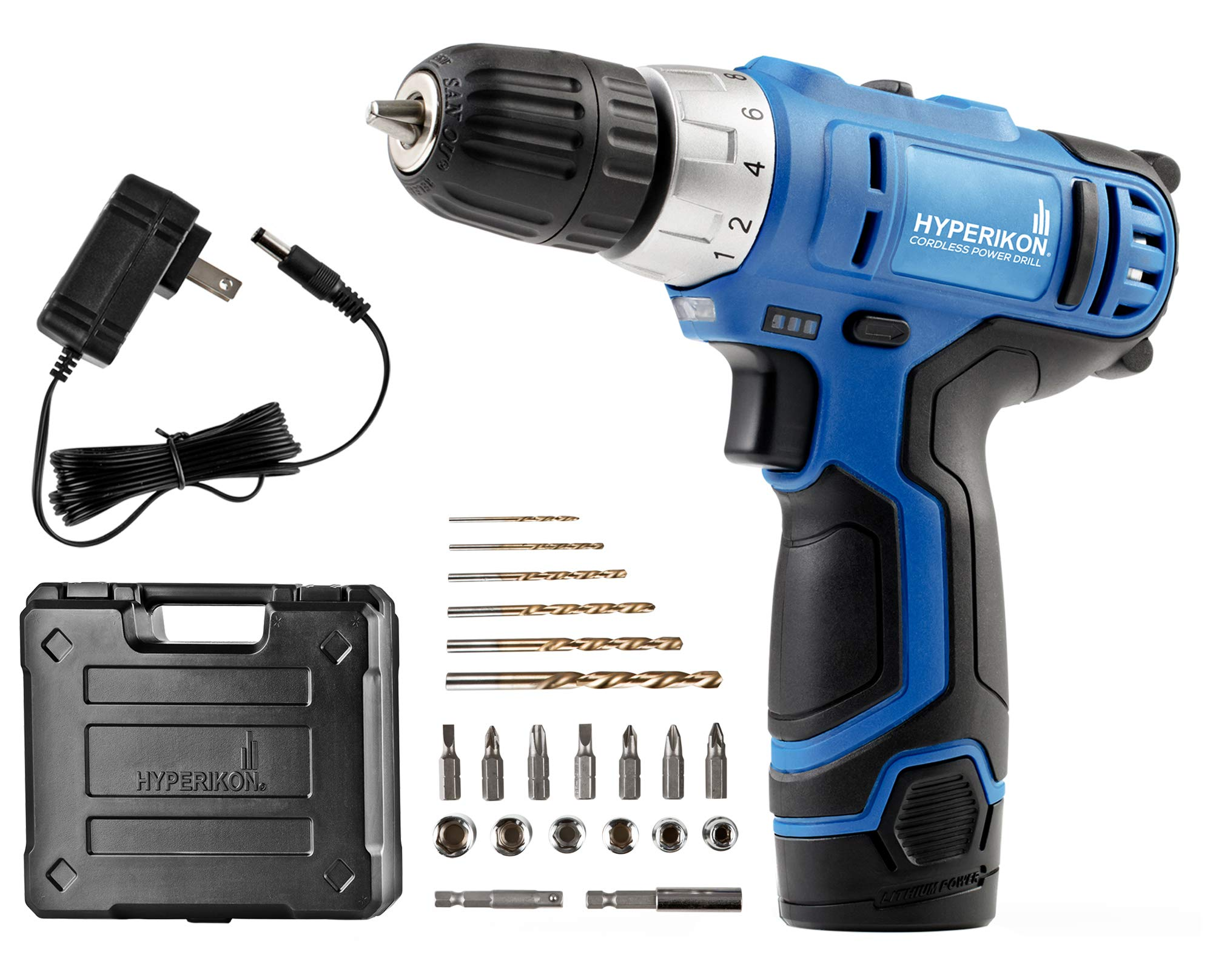 Hyperikon Electric Power Drill, 12V, 3/8 Keyless Chuck, Power Tool, Driver Set and Battery by Hyperikon