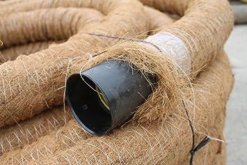 Kokos ummantelt 10 m Drainagerohr DN 80 gelocht mit Kokosfilter