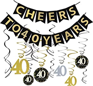 Tuoyi 40th Birthday Party Decorations KIT - Cheers to 40 Years Banner, Sparkling Celebration 40 Hanging Swirls, Perfect 40 Years Old Party Supplies 40th Anniversary Decorations (Banner)
