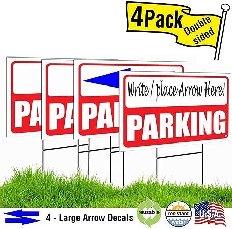 Amazon.com: VSE- Señal de aparcamiento roja 12 x 18 con ...