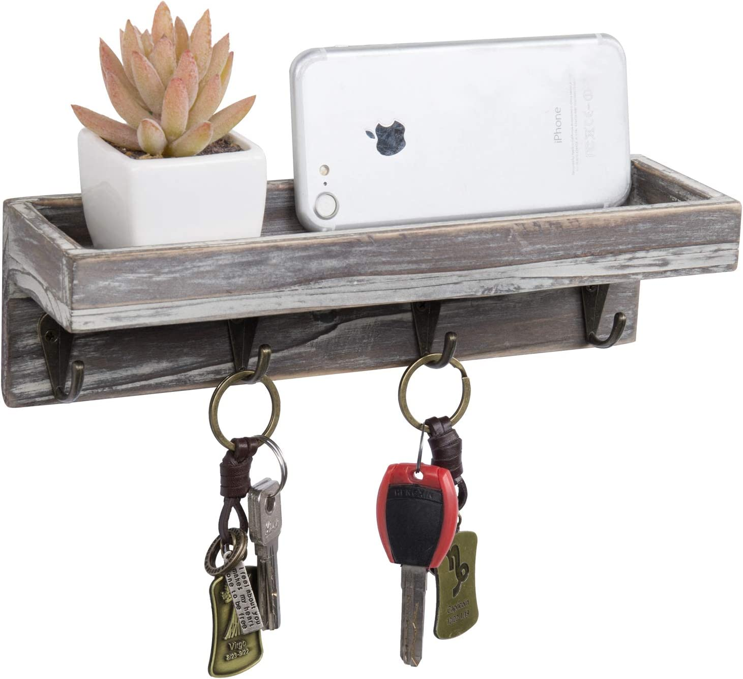 MyGift Rustic Torched Wood Small Wall-Mounted Entryway Shelf with 4 Vintage Key Hooks