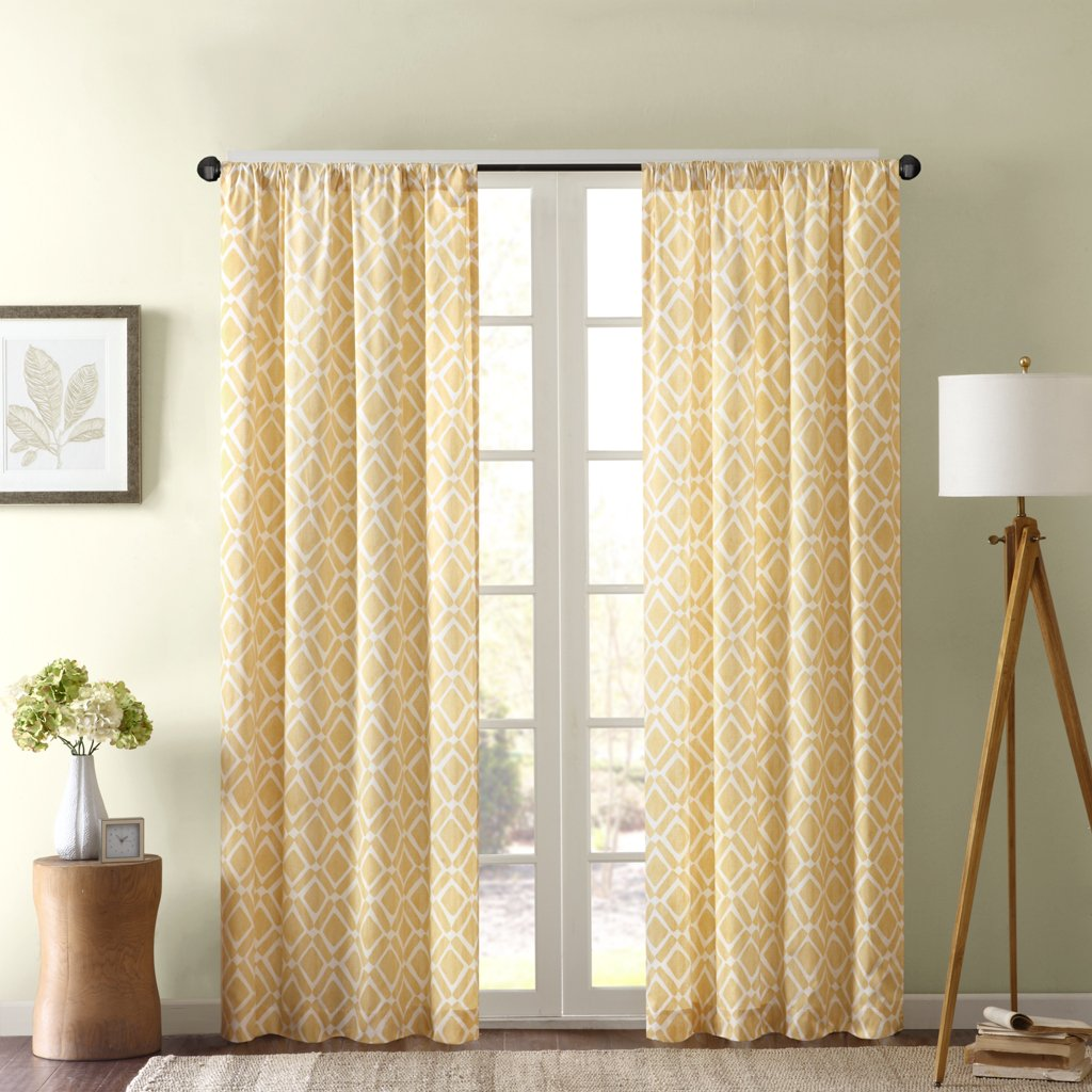 Delray Diamond Window Curtain Yellow