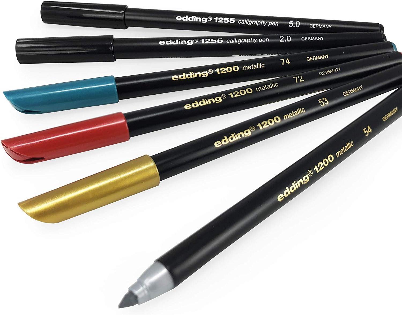 Edding 1255 Bolígrafos Caligrafía - Tinta Negra - 2.0 / 5.0mm + 1200 Metálico Fibra Rotuladores - Dorado, Plateado, Verde, Rojo - Pack con 6: Amazon.es: Oficina y papelería