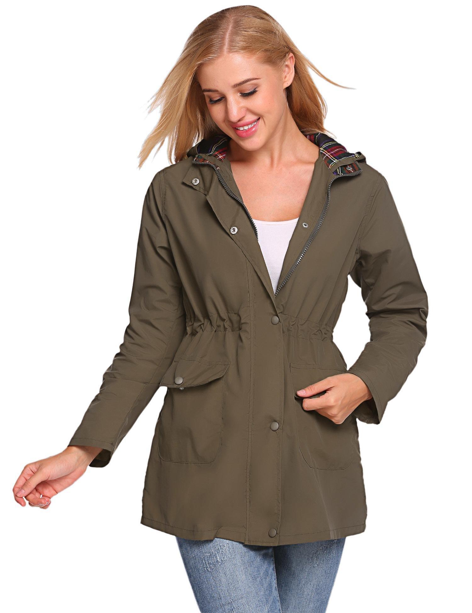 Vansop Women Casual Hooded Windproof Lightweight Trench Coat Rain Zipper Jacket