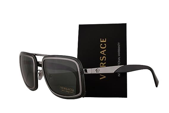 ca9b66105038 Versace VE2183 Sunglasses Grey w Green 63mm Lens 100171 VE 2183   Amazon.co.uk  Clothing