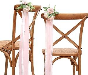 FANEYA Wedding Chair Decorations Set of 12 Pink Cream Floral Wedding Flowers