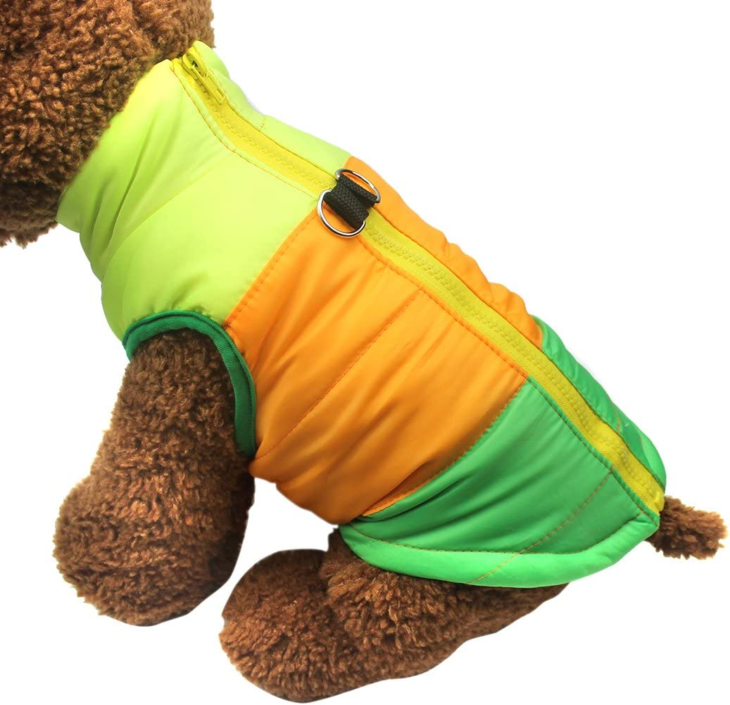 TM Pet Dog Cat Coat with Leash Anchor Color Patchwork Padded Puppy Vest Teddy Jacket Chihuahua Costumes Pug Clothes XS S M L Idepet L, Green