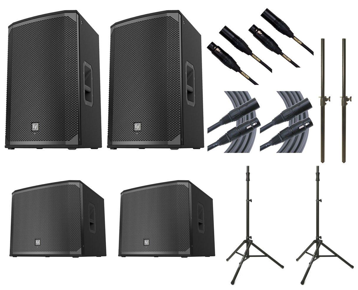 2x Electro-Voice EKX-15P + 2x EV EXK-18SP + 2x Ultimate TS-100B + Mogami Cables + Poles by EV