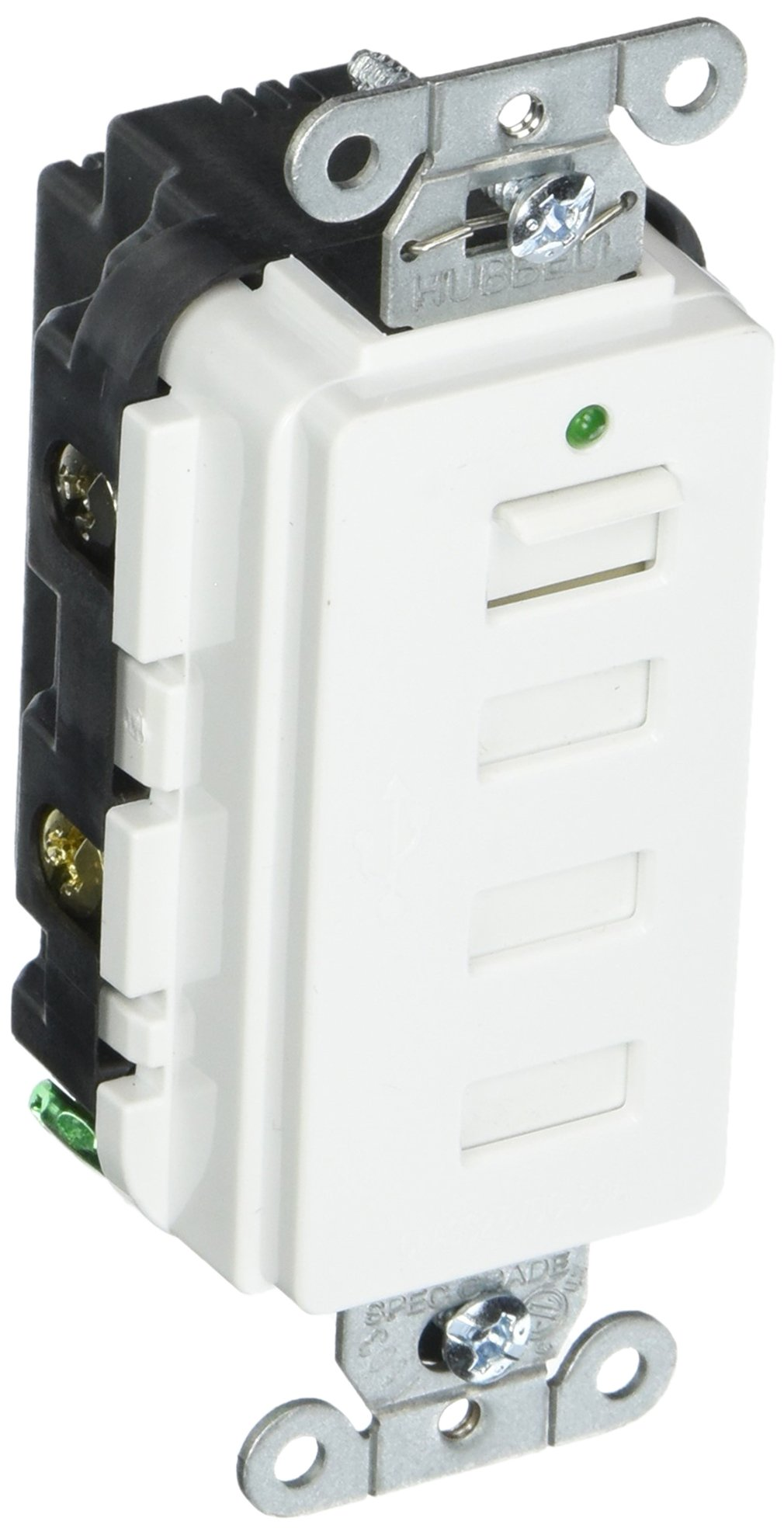 Hubbell Wiring Hubbell Style Line Decorator Usb Charger Outlet, 4 Port, White Usb4W