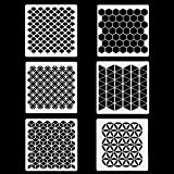 6 Set Geometric Honeycomb Stencils 7 x 7 Inch - Art Painting Templates for Scrapbooking Drawing Tracing DIY Furniture…