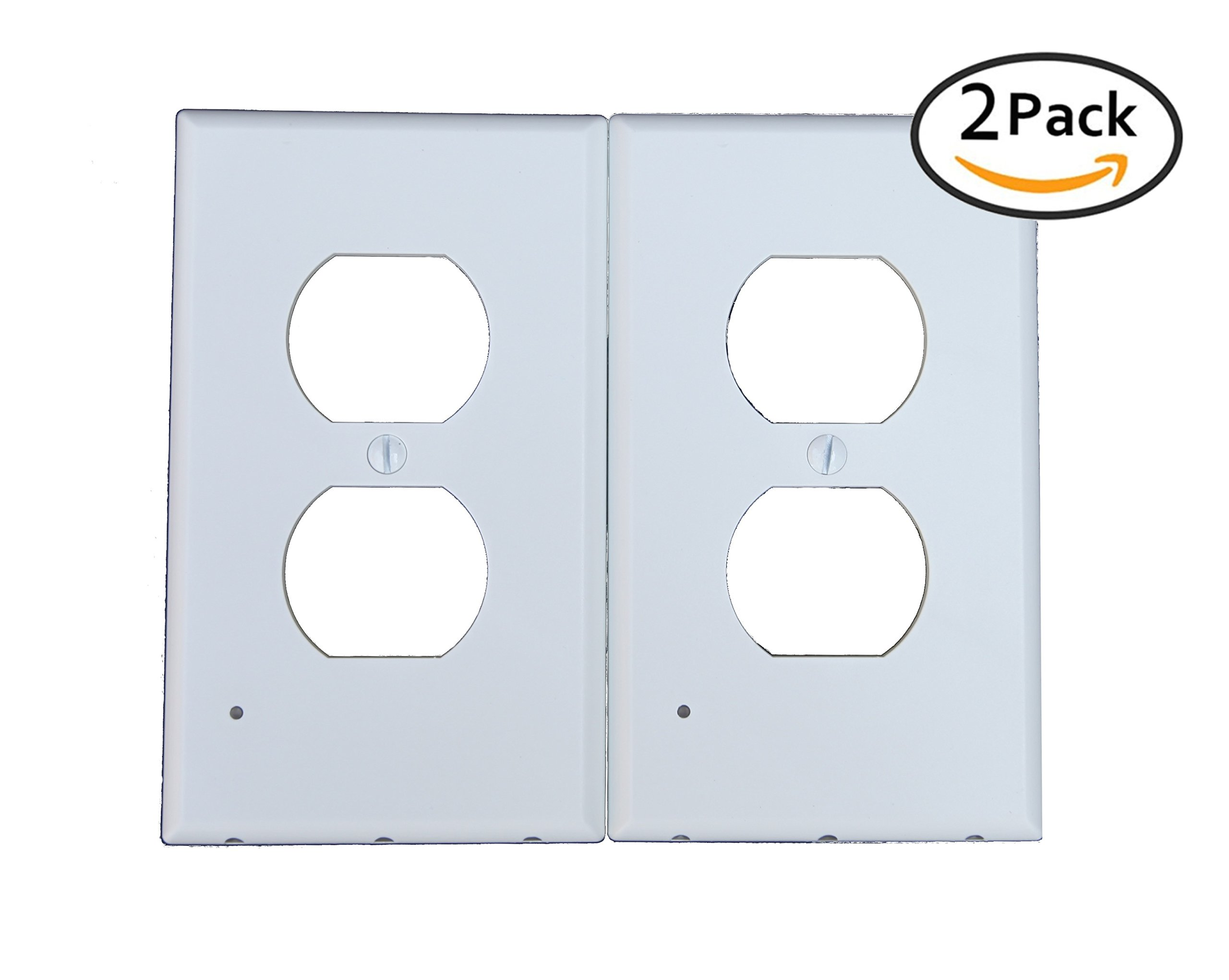 2 pack LED Night Light Outlet Covers - Wall Plate - NEW 2018 DESIGN- Energy Efficient - Automatic Brightness Sensor - No Wires/Batteries - Home, Kitchen, Bath, Safety - Duplex, White - Easy Install