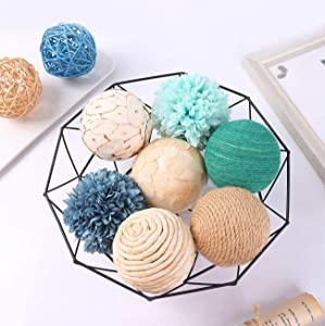 Ciroases 9pcs 3.5Inch Fall Decorative Ball Orb Rattan Ball Rattan Woven Orbs Spherical Bowl and Vase Filler for Home Party Wedding Display Decor Props … (Blue)